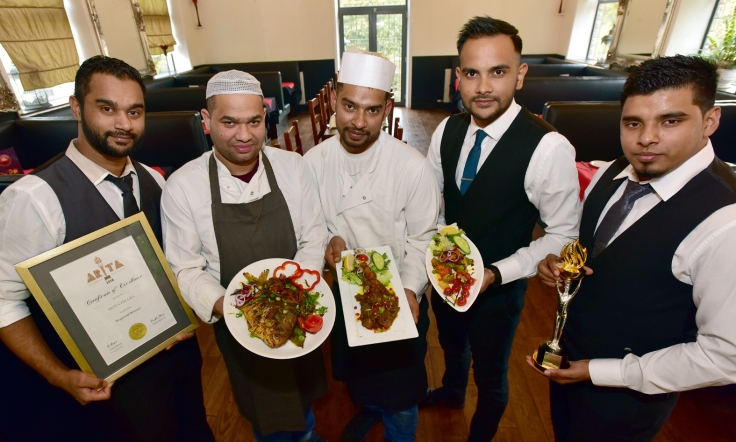Staff at Hot Chilli, Dunscar, Bolton from left Mokbul Ali, Altaf Hussain, chef Abul Bashar, Syed Haque and manager Shek Shah